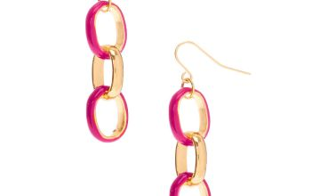 "Go to Product: Gold 1.5"" Enamel Link Drop Earrings - Red"