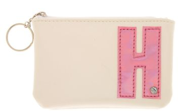 Go to Product: White Faux Leather Pink Initial Coin Purse - H