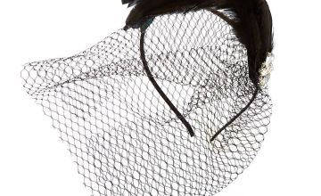 Go to Product: Feather Gem Netted Fascinator Headband - Black