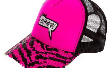 Go to Product: !!@#$! Word Bubble Reversible Sequin Zebra Trucker Hat - Pink