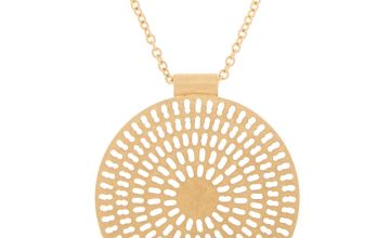 Go to Product: Brushed Gold Medallion Long Pendant Necklace