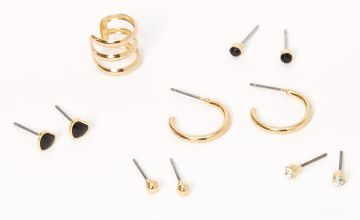 Go to Product: Gold Ball Heart Ear Cuff & Mixed Earrings - Black, 6 Pack