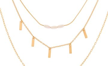 Go to Product: Gold Pearl Chain Multi Strand Necklace