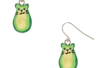 "Go to Product: 1"" Avocado Cat Drop Earrings - Green"