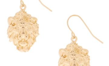 "Go to Product: Gold 1"" Lion Drop Earrings"