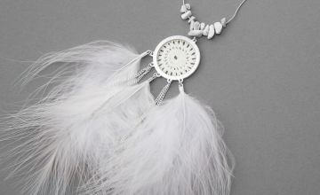 Go to Product: Silver Crochet Feather Long Pendant Necklace - White