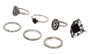 Go to Product: Silver Medallion Rings - Black, 7 Pack