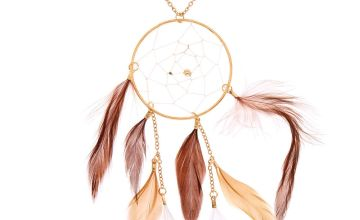 Go to Product: Gold Dreamcatcher Long Pendant Necklace - Brown