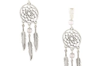 "Go to Product: Silver 3"" Gem Dreamcatcher Clip On Drop Earrings - Pink"