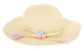 Go to Product: Claire's Club Pom Pom Floppy Straw Hat - Tan