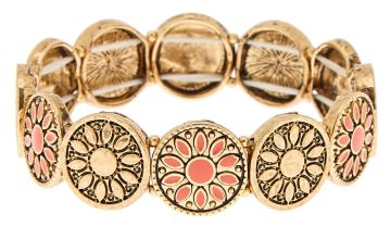 Go to Product: Gold Medallion Stretch Bracelet - Coral