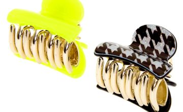 Go to Product: Houndstooth Mini Hair Claws - Neon Yellow, 2 Pack