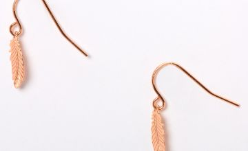 "Go to Product: 18kt Rose Gold Plated 0.5"" Feather Drop Earrings"