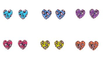 Go to Product: Rainbow Leopard Heart Stud Earrings - 6 Pack