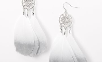 "Go to Product: Silver 3.5"" Metallic Dreamcatcher Drop Earrings - Grey"