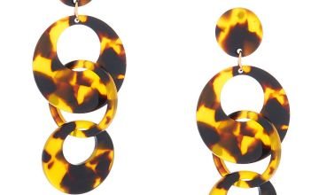 """Go to Product: Gold 2.5"""" Round Tortoiseshell Link Drop Earrings - Brown"""