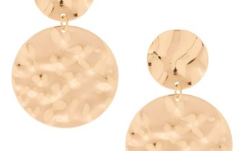 "Go to Product: Gold 2"" Circle Hammered Drop Earrings"