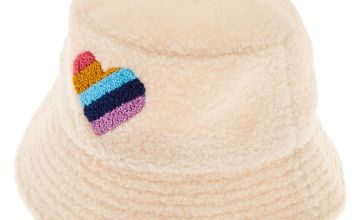 Go to Product: Sherpa Rainbow Heart Bucket Hat - Cream