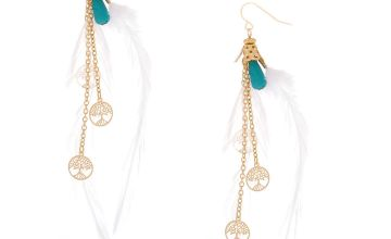 "Go to Product: Gold 4"" Tree Coin Feather Drop Earrings - White"