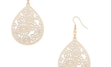 """Go to Product: Gold 2.5"""" Floral Wooden Teardrop Drop Earrings - Cream"""