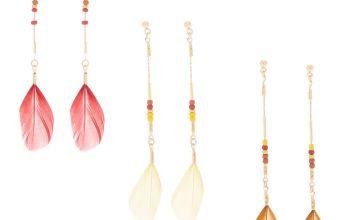 "Go to Product: Gold 3"" Feather Drop Earrings - 3 Pack"