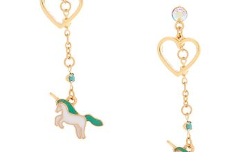 "Go to Product: 2"" Pastel Unicorn Heart Drop Earrings - Turquoise"