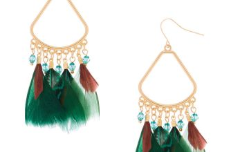 "Go to Product: 3"" Feather Chandelier Drop Earrings - Green"