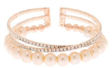 Go to Product: Rose Gold Pearl & Rhinestone Cuff Bracelet