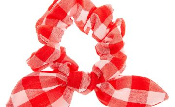 Go to Product: Small Gingham Knotted Bow Hair Scrunchie - Red