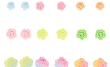 Go to Product: Glitter Pastel Rose Stud Earrings - 9 Pack