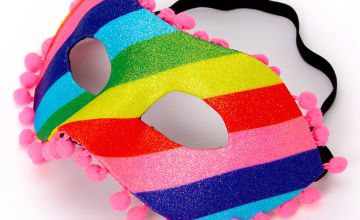 Go to Product: Rainbow Striped Glitter Pom Pom Mask