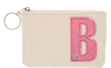 Go to Product: White Faux Leather Pink Initial B Coin Purse