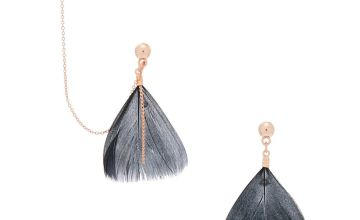 """Go to Product: Rose Gold 1.5"""" Feather Connector Drop Earrings - Black"""