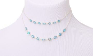 Go to Product: Silver Shimmer Stone Multi Strand Necklace - Aqua