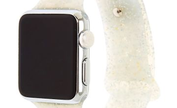 Go to Product: Silver Glitter Silicone Smart Watch Band - Fits 38MM/40MM Apple Watch
