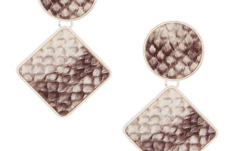 "Go to Product: 2"" Snakeskin Geometric Drop Earrings"