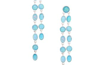 "Go to Product: Silver 3"" Linear Stone Drop Earrings - Turquoise"