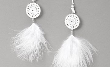 "Go to Product: Silver 6"" Crochet Poofy Feather Drop Earrings - White"