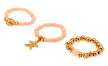 Go to Product: Gold Shell Stretch Rings - Pink, 3 Pack