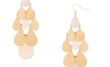 """Go to Product: Gold 3"""" Chandelier Drop Earrings - White"""