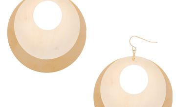 "Go to Product: Gold 2.5"" Open Seashell Drop Earrings - White"