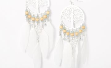 "Go to Product: Silver 5.5"" Tree Of Life Beaded Feather Drop Earrings - White"