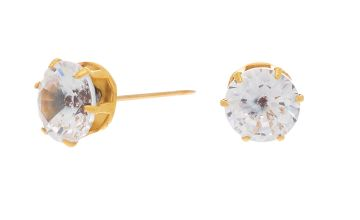 Go to Product: Gold Titanium Cubic Zirconia 7MM Round Stud Earrings