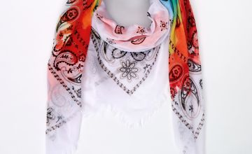 Go to Product: Rainbow Tie Dye Bandana Scarf - White
