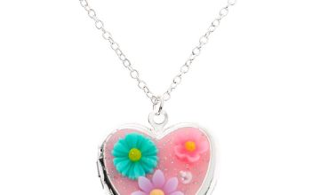 Go to Product: Silver Flower Heart Locket Pendant Necklace - Pink