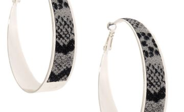 Go to Product: Silver 60MM Glitter Snake Print Hoop Earrings
