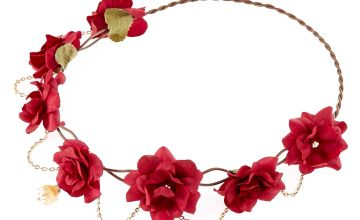 Go to Product: Gold Chain Flower Crown Headwrap - Burgundy