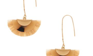 "Go to Product: Gold 2.5"" Resin Tortoiseshell & Raffia Drop Earrings"