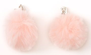 "Go to Product: Silver 1.5"" Pom Pom Clip On Drop Earrings - Light Pink"