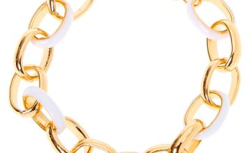 Go to Product: Gold Enamel Link Chain Bracelet - White